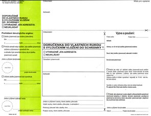 Doručenka do vlastních rukou s vyloučením vložení do schránky II. OSŘ zelený pruh