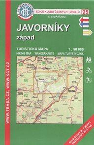Javorníky - západ - mapa KČT č.95 - 1:50t