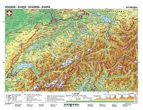 Švýcarsko/Rakousko - obecně geografická mapa - mapa A3