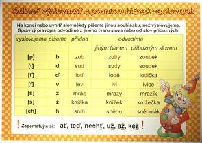Odlišná výslovnost a psaní souhlásek /100×70/