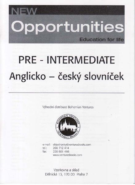New Opportunities Pre-intermediate anglicko-český slovníček - Trávníčková Lucie - A5, sešitová vazba