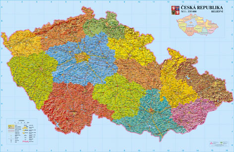 Reliefní nástěnná mapa ČR 1:335 160x110 cm - 160x110 cm