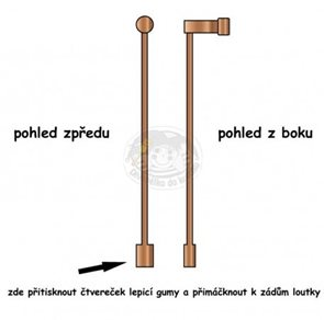 Vodicí dřevěná tyčka 21 cm, nalepovací k loutkám