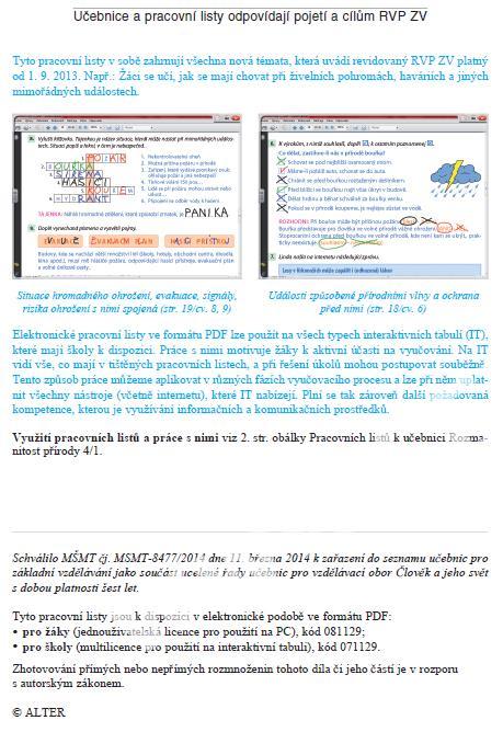 Rozmanitost Prirody 4 R 2 Dil Pracovni Listy K Ucebnici Clovek A
