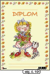 Diplom A5 - Dívka s kyticí a kočkou