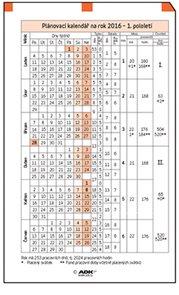 ADK Plánovací kalendář A7 2017 (1 list)