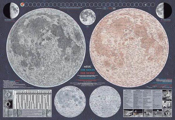 Měsíc - nástěnná mapa - 113x80cm