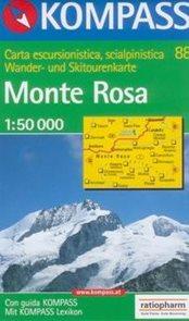 Monte Rosa - mapa Kompass č.88 - 1:50t /Itálie,Švýcarsko/
