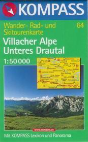 Villacher Alpe, Unteres Drautal - mapa Kompass č.64 - 1:50t /Rakousko,Itálie,Slovinsko/