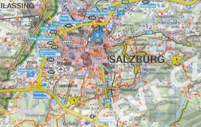 Rakousko Salzburg A Okoli Salcbursko Mapa Freytag 1 150t