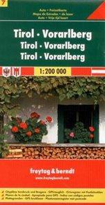 Rakousko - Tirol, Vorarlberg - mapa Freytag č.7 - 1:200 000