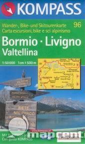 Bormio, Livigno,Valtellina - mapa Kompass č.96 - 1:50t /Švýcarsko,Itálie/