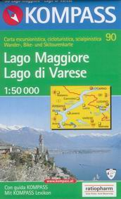 Lago Maggiore, Lago di Varese - mapa Kompass č.90 - 1:50t /Švýcarsko,Itálie/