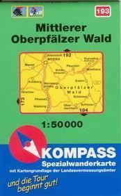 Mittlerer Oberpfälzer Wald - mapa Kompass č.193 - 1:50t /Německo,Česká republika/