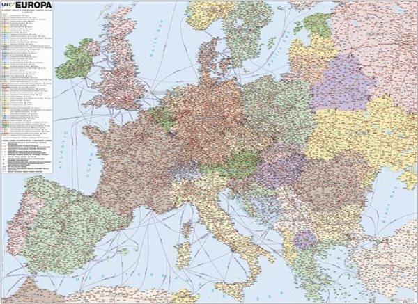 Evropa - železniční - 1:3 400 000 - nástěnná mapa /ZES/ - 113x84cm