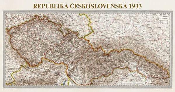 Československo 1933 - nástěnná mapa - 1:1 250 000 - 112x60cm