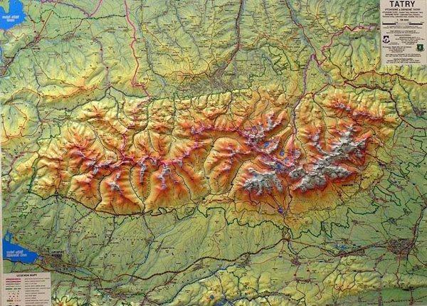 Tatry - reliéfní nástěnná mapa - 1:66 666 - 95x70cm