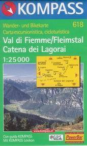 Val di Fiemme/ Fleimstal, Catena dei Lagorai  - mapa Kompass č.618 - 1:25t /Itálie/