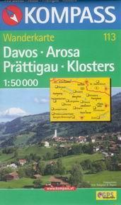 Davos, Arosa, Prättigau, Klosters - mapa Kompass č.113 - 1:50t /Rakousko,Švýcarsko/