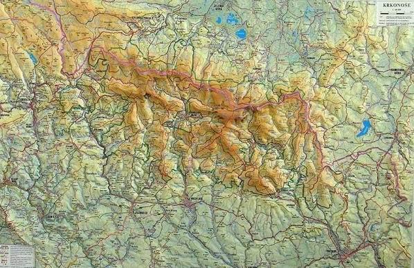 Krkonoše - reliéfní nástěnná mapa - 1:66 666 - 90x62cm