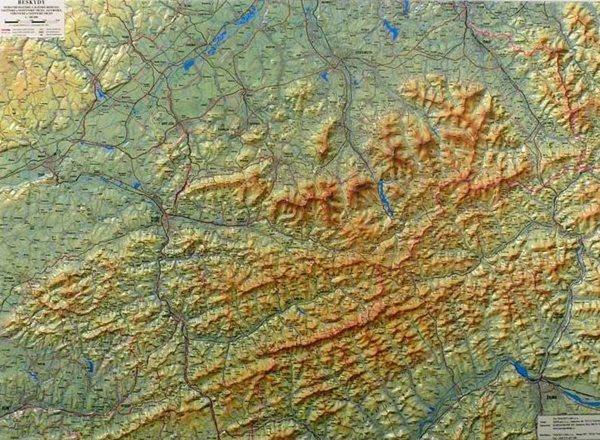 Beskydy - reliéfní - 1:100 000 - nástěnná mapa - 100x75cm