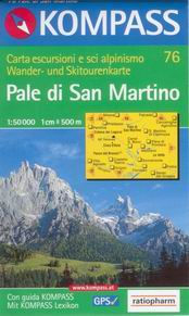 Pale di San Martino - mapa Kompas č.76 - 1:50t /Itálie/
