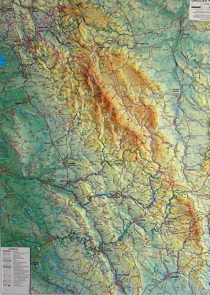 Orlické hory - reliéfní nástěnná mapa - 1:75 000 - 75x100cm(výška)