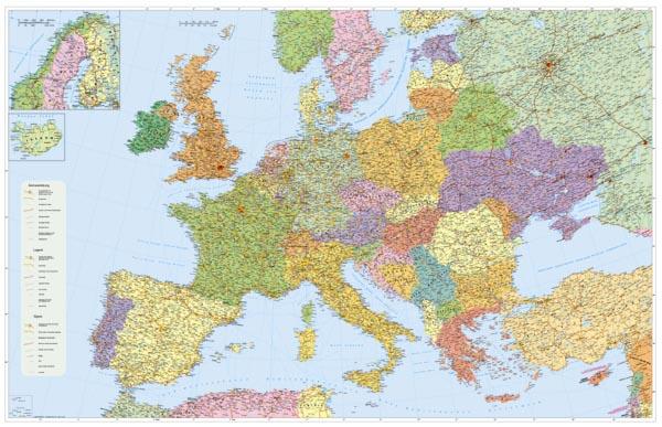 Evropa - politické rozdělení - 1:4 400 000 - nástěnná mapa /Stiefel/ - 137x96cm