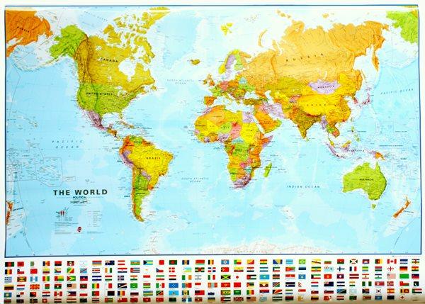 Svět - politické rozdělení - 1:30 000 000 - nástěnná mapa /ZES/ - 136x100cm