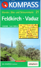 Feldkirch, Vaduz - mapa Kompass č.21 - 1:50t /Lichtenštejsko,Švýcarsko,Rakousko/
