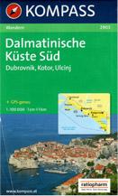 Chorvatsko - Dalmácie-jih, Černá Hora-pobřeží - mapa Kompass č.2903 - 1:100 000