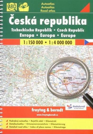 Česká republika - autoatlas Freytag - 1:150 0000 + Evropa 1:4 000 000 - A4 (215x297mm), spirála