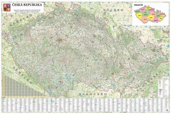 Česká republika - 1:250 000 - nástěnná mapa - 200x135cm, Doprava zdarma