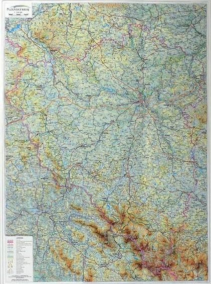 Kraj - Plzeňský - reliéfní nástěnná mapa - 1:155 000 - 74x99cm (výška)