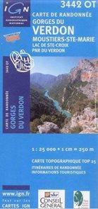 Francie - Gorges du Verdon, Lac de Ste-Croix, PNR Verdon - mapa IGN č.3442ot - 1:25t