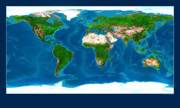 Svět - satelitní - oboustranný /noc a den/ - nástěnná mapa /ZES/