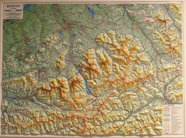 Beskydy - reliéfní - 1:66 666 - nástěnná mapa - 100x75cm