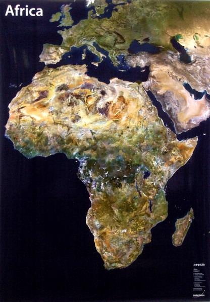 Afrika - satelitní - nástěnná mapa Stiefel 100x140 cm