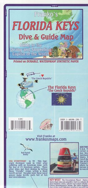 Florida Keys Dive and Guide map - 22x11