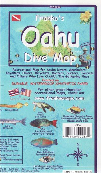 Oahu Dive Franko´s map - 18x11