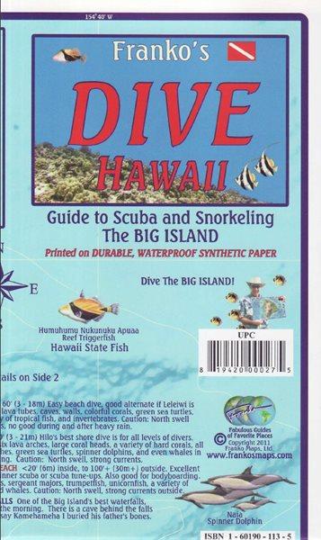 Hawaii Big Island Dive Map - 18x11