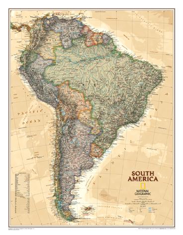 Nástěnná mapa Jižní Amerika National Geographic - 60x80 cm