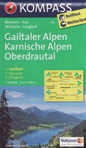Mapa Gailtaler Alpen - Karnische Alpen - Oberdrautal Kompass 1: 50 tis.