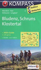 Mapa Bludenz, Schruns, Klostertal Kompass 1: 50 tis.