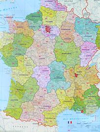 Francie Spediční nástěnná mapa 1: 1,1 mil.