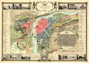 Nástěnná mapa PRAG - PRAHA 1847