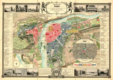 Nástěnná mapa PRAG - PRAHA 1847 - 140x100