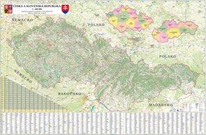 ČR + SR - nástěnná mapa 200 x 140 cm