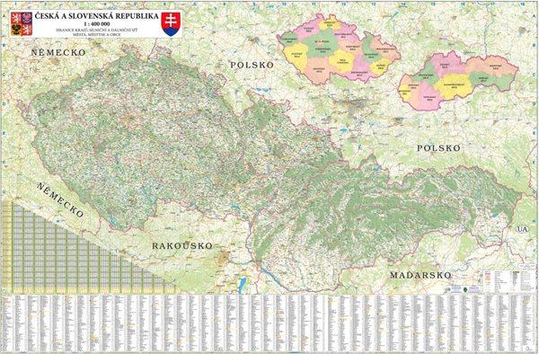 ČR + SR - nástěnná mapa 200 x 140 cm - 200x140 cm, Doprava zdarma