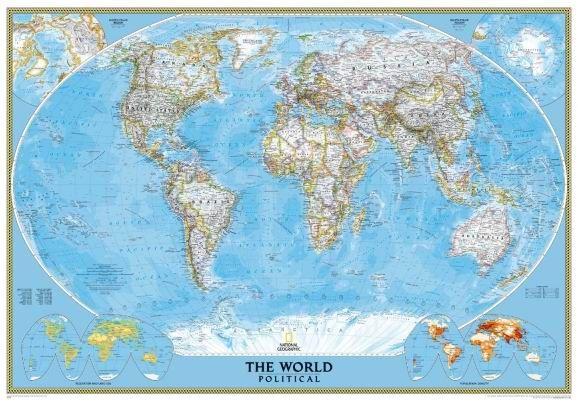 Svět - nástěnná politická mapa Classic 185x122 cm - 185x122 cm, Doprava zdarma